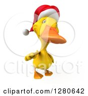 Clipart Of A 3d Yellow Christmas Duck Pointing Outwards Royalty Free Illustration