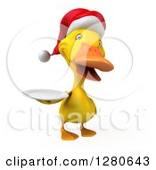 Clipart Of A 3d Yellow Christmas Duck Holding A Plate Royalty Free Illustration