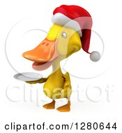 Clipart Of A 3d Yellow Christmas Duck Facing Left And Holding A Plate 2 Royalty Free Illustration