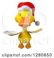 Clipart Of A 3d Yellow Christmas Duck Flying And Holding A Plate Royalty Free Illustration