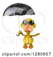 Clipart Of A 3d Yellow Duck Wearing Sunglasses And Flying With An Umbrella Royalty Free Illustration