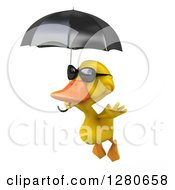 Clipart Of A 3d Yellow Duck Wearing Sunglasses And Flying To The Left With An Umbrella Royalty Free Illustration by Julos