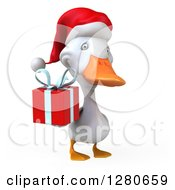 Clipart Of A 3d White Christmas Duck Facing Right And Holding A Gift Royalty Free Illustration