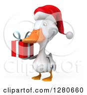 Clipart Of A 3d White Christmas Duck Facing Slightly Left And Holding A Gift Royalty Free Illustration