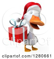 Clipart Of A 3d White Christmas Duck Holding A Gift Royalty Free Illustration