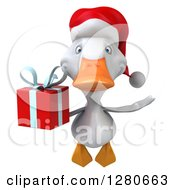Clipart Of A 3d White Christmas Duck Flying And Holding A Gift Royalty Free Illustration
