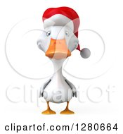Clipart Of A 3d White Christmas Duck Royalty Free Illustration