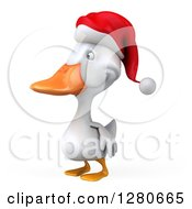 Clipart Of A 3d White Christmas Duck Facing Left Royalty Free Illustration