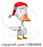 Clipart Of A 3d White Christmas Duck Facing Right And Holding A Plate Royalty Free Illustration