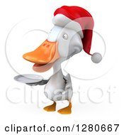 Clipart Of A 3d White Christmas Duck Facing Left And Holding A Plate Royalty Free Illustration