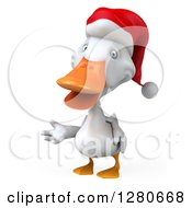 Clipart Of A 3d White Christmas Duck Presenting To The Left Royalty Free Illustration