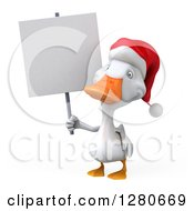 Clipart Of A 3d White Christmas Duck Holding A Blank Sign Royalty Free Illustration