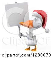 Clipart Of A 3d White Christmas Duck Holding And Pointing To A Blank Sign Royalty Free Illustration