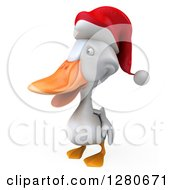 Clipart Of A 3d White Christmas Duck Facing To The Left Royalty Free Illustration
