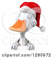 Clipart Of A 3d White Christmas Duck Over A Sign Royalty Free Illustration