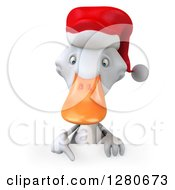 Clipart Of A 3d White Christmas Duck Pointing Down Over A Sign Royalty Free Illustration