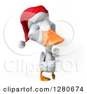 Clipart Of A 3d Full Length White Christmas Duck Pointing Around A Sign Royalty Free Illustration