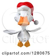 Clipart Of A 3d White Christmas Duck Flying And Holding A Plate Royalty Free Illustration