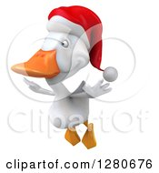 Clipart Of A 3d White Christmas Duck Flying To The Left Royalty Free Illustration