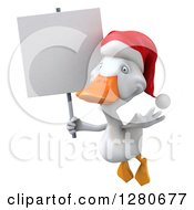 Clipart Of A 3d White Christmas Duck Flying And Holding A Blank Sign Royalty Free Illustration