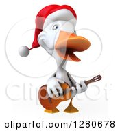 Clipart Of A 3d White Christmas Duck Singing And Playing A Guitar Royalty Free Illustration