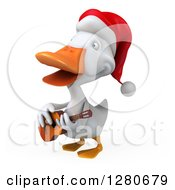 Clipart Of A 3d White Christmas Duck Facing Left Singing And Playing A Guitar Royalty Free Illustration