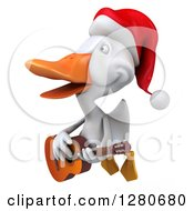 Clipart Of A 3d White Christmas Duck Flying Left Singing And Playing A Guitar Royalty Free Illustration