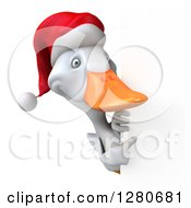 Clipart Of A 3d White Christmas Duck Pointing Around A Sign Royalty Free Illustration