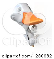 3d White Duck Pointing Around A Sign