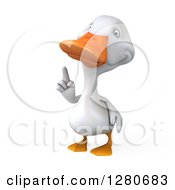 Clipart Of A 3d White Duck Pointing Up Royalty Free Illustration