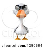 Clipart Of A 3d White Duck Wearing Sunglasses Royalty Free Illustration