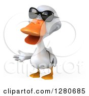 3d White Duck Wearing Sunglasses And Presenting To The Left