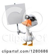 3d White Duck Wearing Sunglasses And Holding A Blank Sign