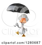 3d White Duck Walking And Holding An Umbrella