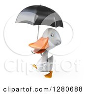 3d White Duck Walking To The Left And Holding An Umbrella