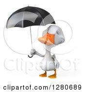 3d White Duck Holding An Umbrella