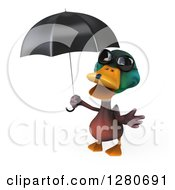 Clipart Of A 3d Mallard Drake Duck Wearing Sunglasses And Gesturing Under An Umbrella Royalty Free Illustration