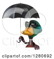 Clipart Of A 3d Mallard Drake Duck Wearing Sunglasses Over A Sign Under An Umbrella Royalty Free Illustration