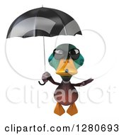 Clipart Of A 3d Mallard Drake Duck Wearing Sunglasses And Flying With An Umbrella Royalty Free Illustration