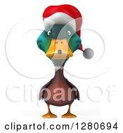 Clipart Of A 3d Christmas Mallard Drake Duck Royalty Free Illustration