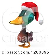 Clipart Of A 3d Christmas Mallard Drake Duck Facing Left Royalty Free Illustration