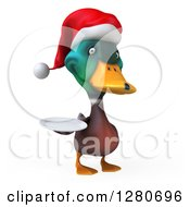 Clipart Of A 3d Christmas Mallard Drake Duck Holding A Plate 2 Royalty Free Illustration