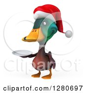 Clipart Of A 3d Christmas Mallard Drake Duck Holding A Plate 3 Royalty Free Illustration