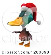 Clipart Of A 3d Christmas Mallard Drake Duck Pointing To The Left Royalty Free Illustration