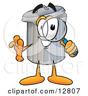 Clipart Picture Of A Garbage Can Mascot Cartoon Character Looking Through A Magnifying Glass by Toons4Biz