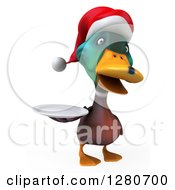 Clipart Of A 3d Christmas Mallard Drake Duck Holding A Plate Royalty Free Illustration