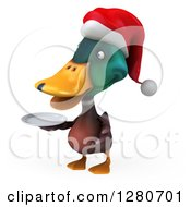 Clipart Of A 3d Christmas Mallard Drake Duck Holding A Plate 4 Royalty Free Illustration