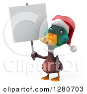 Clipart Of A 3d Christmas Mallard Drake Duck Holding A Blank Sign Royalty Free Illustration