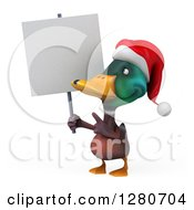 Clipart Of A 3d Christmas Mallard Drake Duck Holding And Pointing To A Blank Sign Royalty Free Illustration