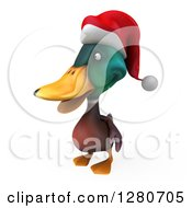 Clipart Of A 3d Christmas Mallard Drake Duck Facing Left 2 Royalty Free Illustration
